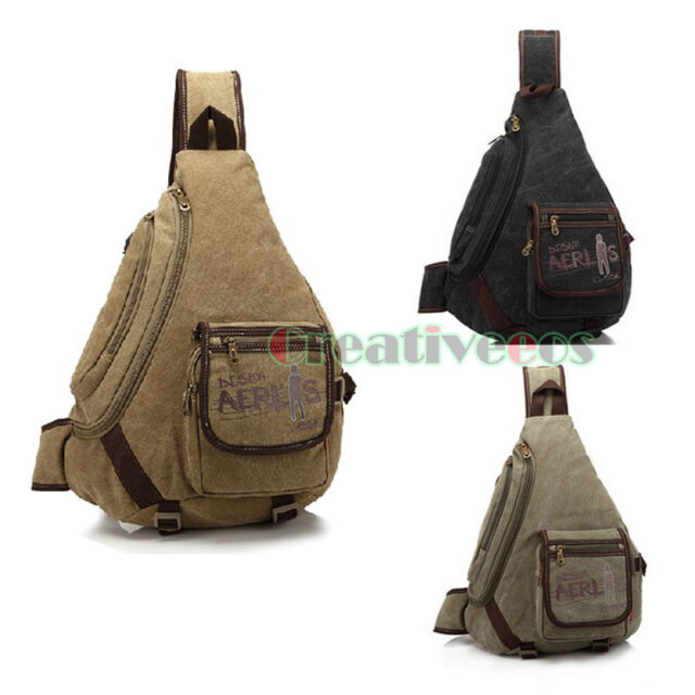 Men Canvas Travel Hiking Messenger Shoulder Sling Back pack Triangle Chest Bag