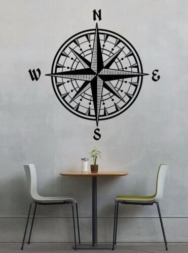Vintage Nautical Compass Rosette Wall Decal Vinyl Interior Design Mandala Boho