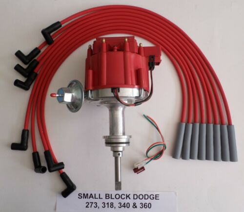 DODGE SMALL BLOCK 273 318 340 360 1964-89 HEI DISTRIBUTOR /& RED Spark Plug Wires