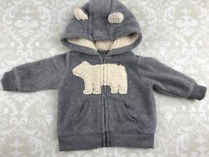 b373a544d Carters Baby Boy 3 M Sweatshirt Hoodie Bear Fleece Sherpa