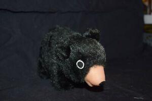 "Vintage Black Bear hay stuffed Plush Rubber Face Nose Animal 7"" Toy"