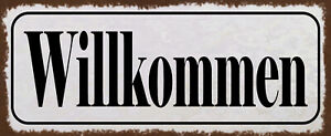 Willkommen Tin Sign Shield Arched Metal 10 X 27 CM K1796