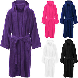 Image is loading 100-EGYPTIAN-COTTON-TERRY-TOWELLING-HOODED-BATH-ROBE- c52695831