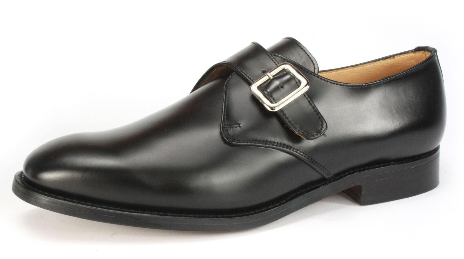 Charles Horrel Britsh Handmade Welted Mens Leather Monk Shoes Black