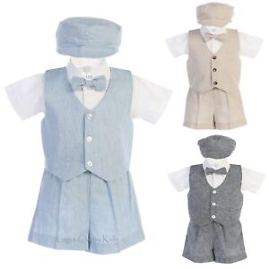 96789c7f1733e Boys Cotton Linen Vest Shorts Set Outfit Hat Baby Toddler Wedding ...