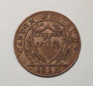 1817 Schweiz 1 Batzen Billon Silber Welt Münze Schweizer Cantons De Vaud
