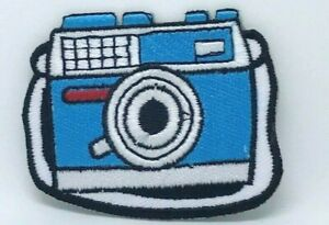 New-Cute-Camera-Blue-And-White-Iron-On-Sew-On-Embriodered-Patch-1281