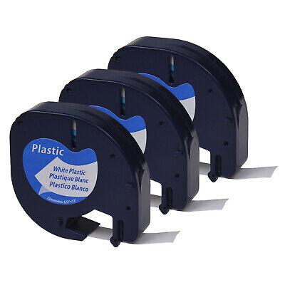 5PC Schwarz auf Weiß Etikettenband für DYMO LT 91330 Letratag QX50 LT100T 12mm