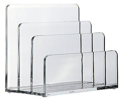 OSCO Acrylic Letter Holder 3 Slot Desktop Organizer Envelop Rack Paper Sorter