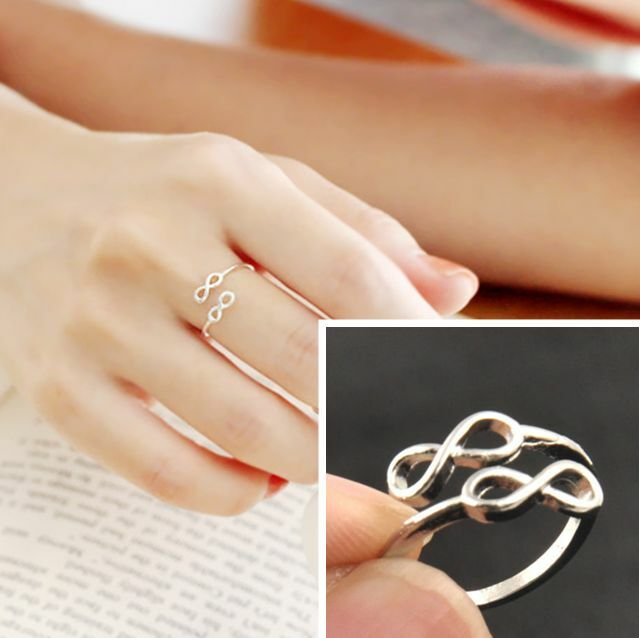 Korean New Fashion Lovely Silver Plated Double 8 shape Midi Knuckle Rings New