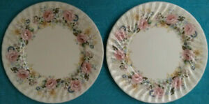 Minton-Rose-Garland-Limited-1973-Plates-Lot-of-2-D-11-034-Fine-Bone-China