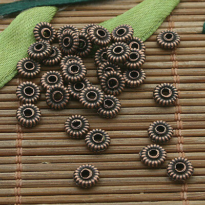 200pcs antiqued copper round spacer beads H3480