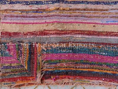 Large Rag Rug Hand Loomed Chindi Carpet Reversible Area Rug Runner Stripes Throw