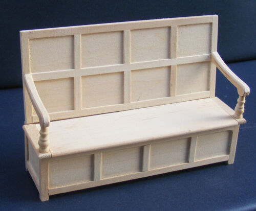 1:12 Scale Natural Finish Monks Bench King Charles Settle Tumdee Dolls House 100