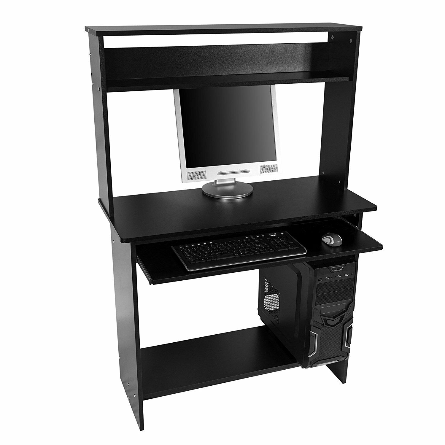 black large office home computer desk table workstation. Black Bedroom Furniture Sets. Home Design Ideas