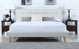 Details About Modern Linen Low Profile Platform Bed Frame With Tufted Headboard Ivory King