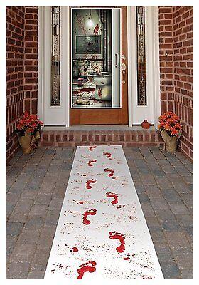 Halloween Bloody Footprint Carpet Floor Runner 2 Packs Spiders Web & 2 Barb Wire