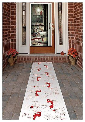 Halloween Bloody Footprint Carpet Floor Runner Prop, Trick or Treat Decoration