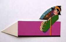 Vintage Bridge Tally Place Card Asian Woman w/ Hand Fan Nice Condition!