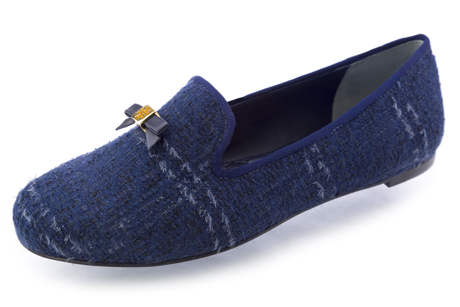 TORY BURCH Chandra Glazed Tweed Loafers shoes Navy Combo