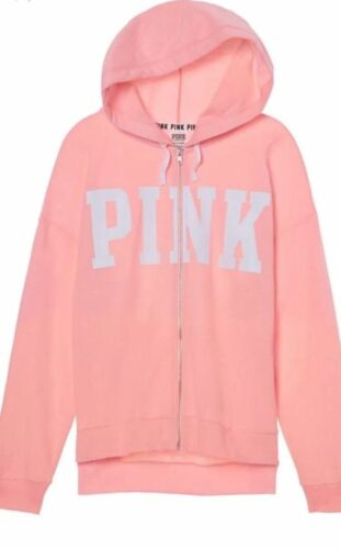 Secret intera zip Pink in felpa Felpa oversize cappuccio Victoria's con con wzaHx1qTP