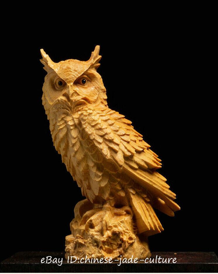 China Natural Boxwood Hand Carving Night Bird Owl Minerva Statue Sculpture a2307
