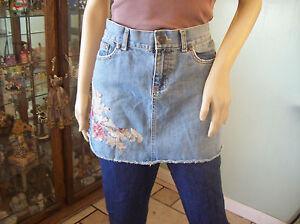 Old navy skirt ultra low waist denim floral applique sequin mini