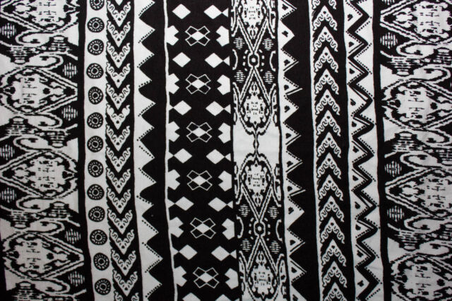 Cotton Lycra Spandex Ethnic Print White Black Apparel Fabric Clothing BTY