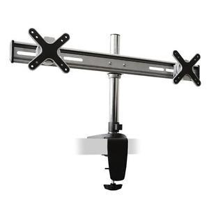 LCD-MONITOR-TV-PLASMA-PC-DUAL-TWIN-ARM-BAR-DESK-TABLE-CLAMP-MOUNT-BRACKET-VESA
