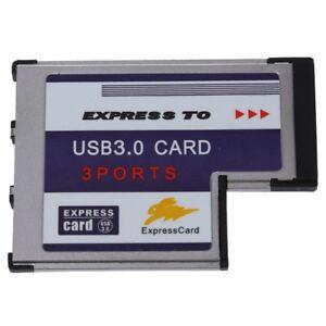 2X-3-Port-USB-3-0-ExpressCard-Karte-54mm-PCMCIA-Express-Card-fuer-Notebook-I9Z6