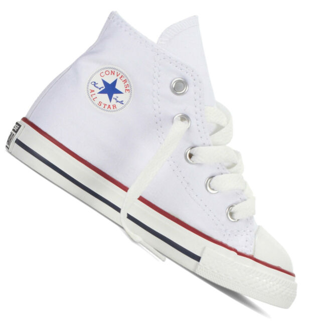 Converse Infants Childs Chuck Taylor All Star Hi Top Trainers White ... 372e00546