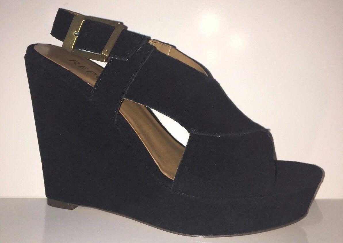 Nuevo informe civni civni civni Gamuza Cuero Sandalia de cuña para Mujer Negro Zapatos Talla 7.5  mejor opcion