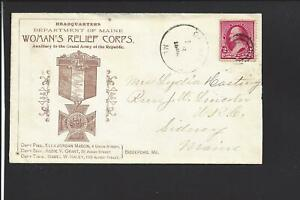 Carmel Maine 1893 Cover 220 Target Cancel Ill Ad Woman S Relief Corps Vf Ebay