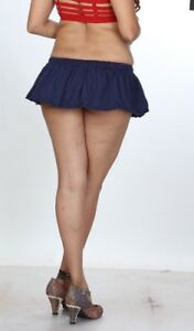 5a594f51e36cb2 Women's Ladies Short Blue 8 inch Divas Micro Mini Skirt Stretchy ...