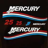 Mercury Outboard Motor Red White & Blue 25 Hp Horse Power Cowl Decal Kit