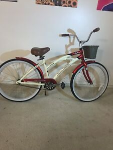 Image Is Loading Red Aluminum La Jolla Beach Cruiser With Basket