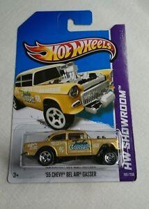 Hot Wheels /';55 Chevy Bel Air Gasser GOLD 2013 HW Showroom Release 1//64 Scale