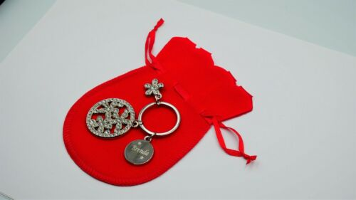 Personalised engraved flower keyring supplied with free organza gift pouch