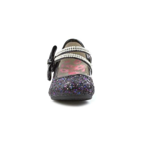 Girls Heeled Shoe with Glitter Bar in Black by Lilley Sparkle