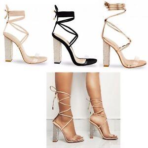 26b8fec80 Womens Ladies Block High Diamante Heel Lace Tie Up Perspex Strap ...