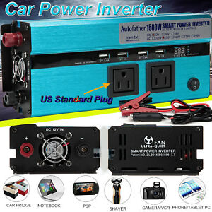 US Plug 2000W 3000W Peak Car LED Power Inverter DC 12//24V To 110V USB Converter