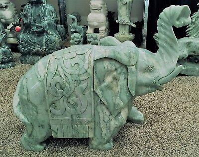 Able 61cm Jade Verde Ensillado Elefantes Other Asian Antiques Antiques lh9d