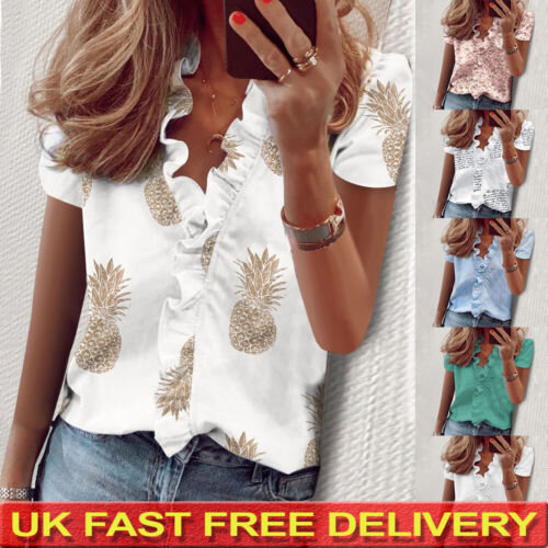 Womens Short Sleeve Shirts Blouse Ladies Floral Ruffle V-neck Top T-Shirts UK
