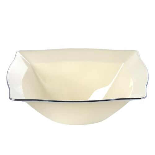 20 x Rectangle Disposable Plastic Cream Soup Bowls w//Silver Rim-Very Durable