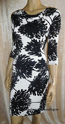 LINEA BLACK /& IVORY FLORAL RUCHED LINED SLINKY JERSEY DRESS SIZE 12 /& 14 £79 NEW