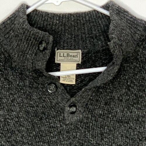 LL Bean Mens Lambswool Sweater LS Gray Large