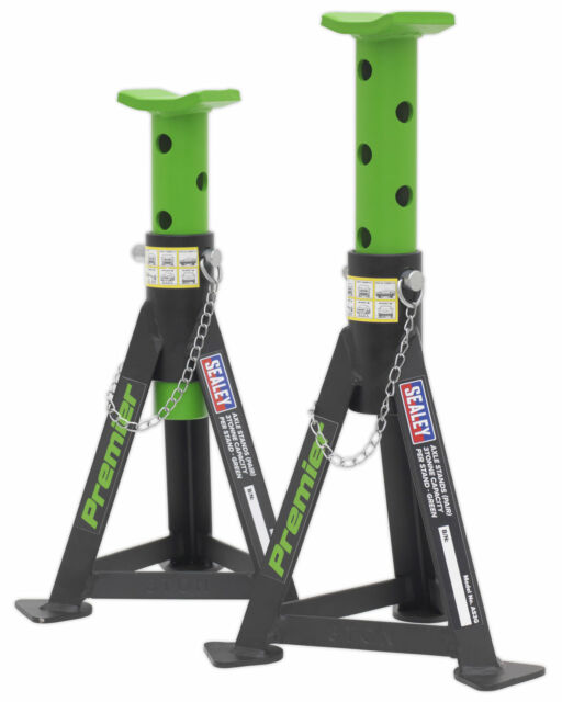 Limited Edition Sealey AS3G Axle Stands (Pair) 3 tonne Capacity per Stand. Green