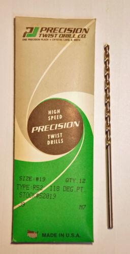 """Precision Twist Drill #19 .1660/""""  4.216 mm HSS Taper Length Drill 6 pcs New USA"""