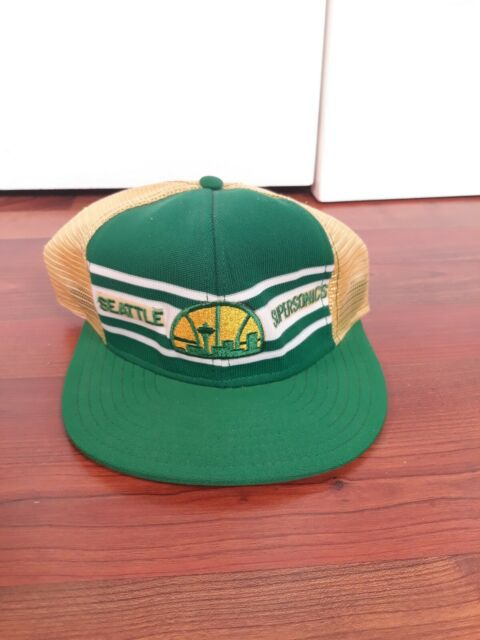 Vtg 70s 80s SEATTLE SUPERSONICS Cap AJD NBA Sonics snapback Mesh Trucker Hat USA
