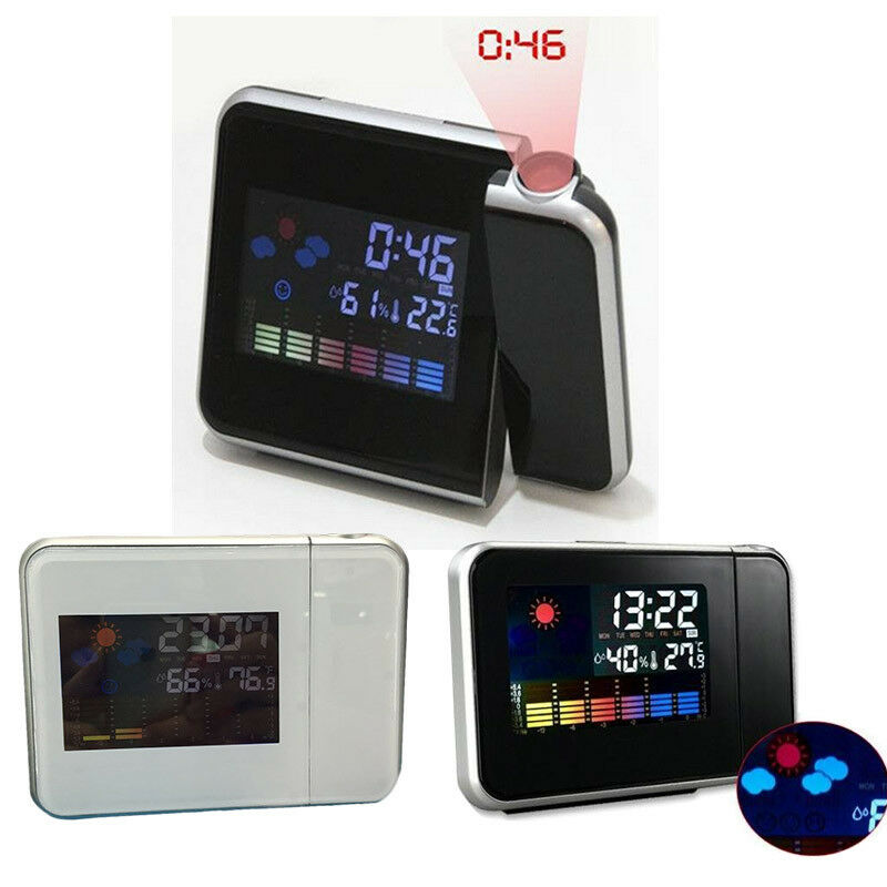 Projection Digital Weather Music Alarm Clock LCD Snooze Color Display Backlight